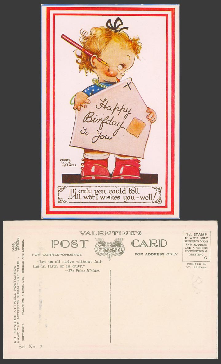 MABEL LUCIE ATTWELL Old Postcard Happy Birthday, Pen Tell All I Wishes Set No. 7