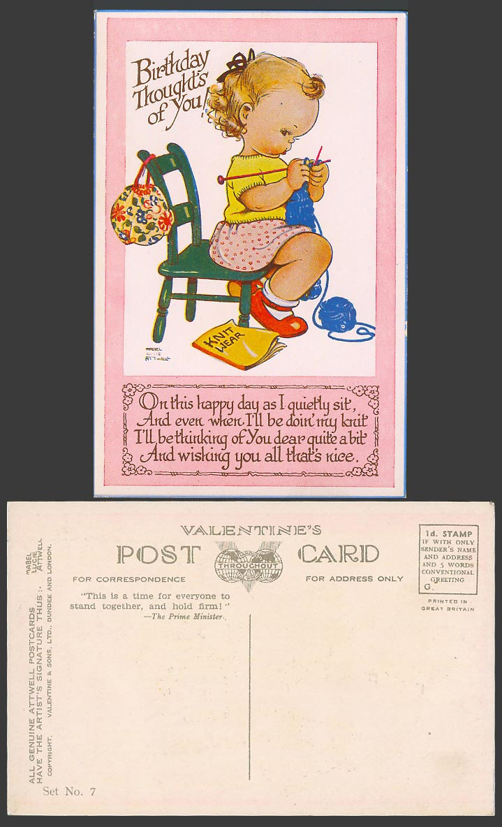 MABEL LUCIE ATTWELL Old Postcard Birthday Thoughts of You Knitting Knit Set No.7