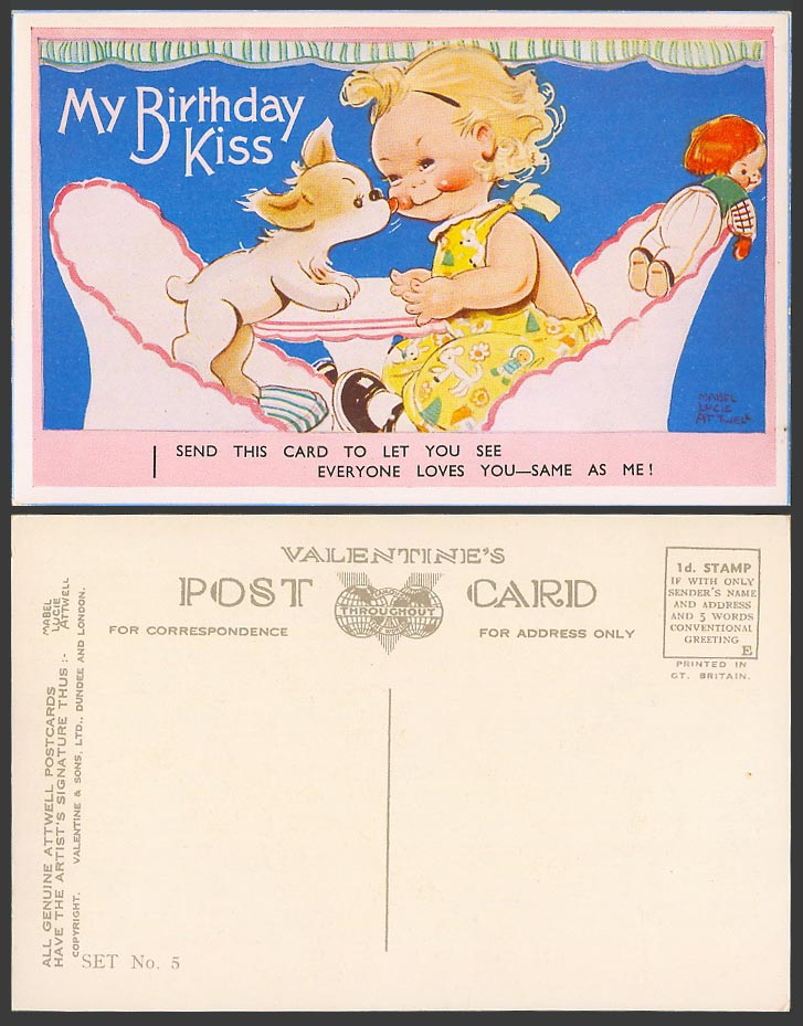 MABEL LUCIE ATTWELL Old Postcard My Birthday Kiss - Everyone Loves You Set No. 5