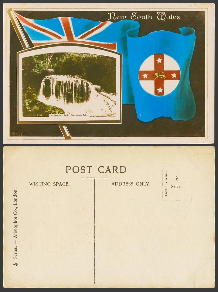 Australia Old Postcard The Weeping Rock Wentworth Falls New South Wales Flag Arm