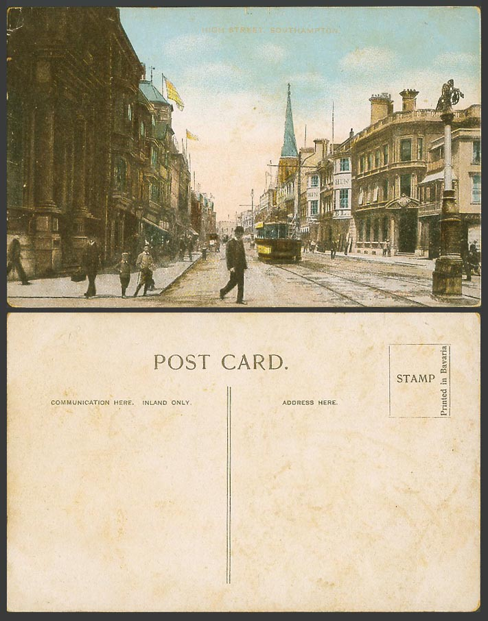 Southampton High Street Scene Hampshire, TRAM Tramway, Flags Old Colour Postcard