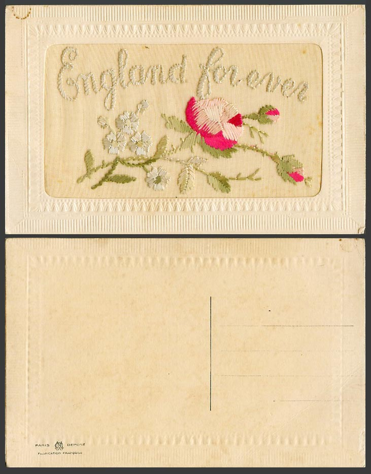 WW1 SILK Embroidered Old Postcard England For Ever Forever - Flowers - Novelty