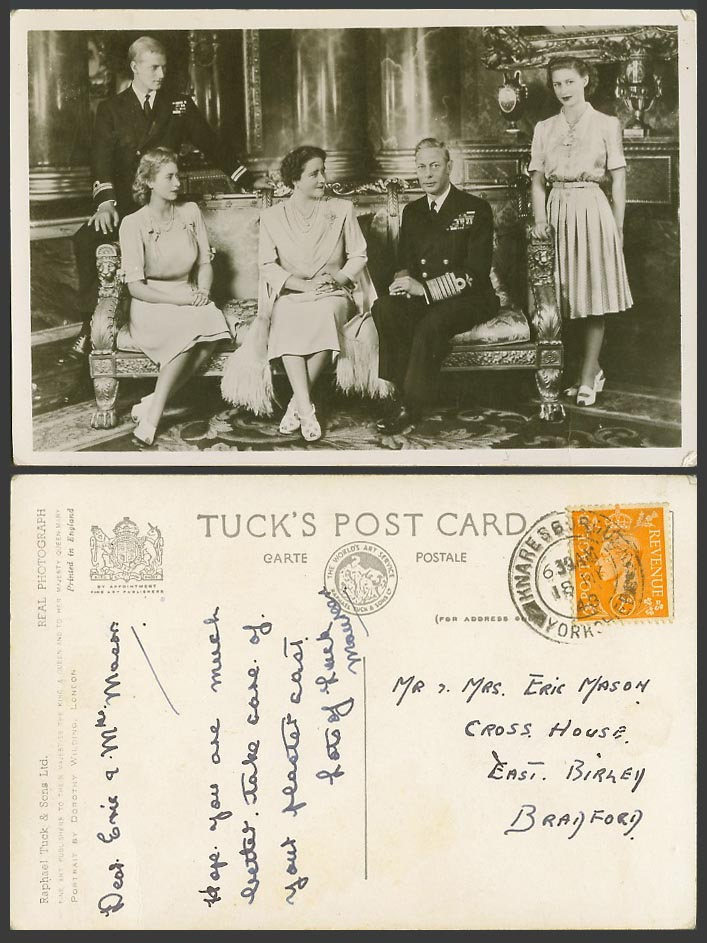 Royal Family King George 6th Queen Princess Elizabeth Margaret 1948 Old Postcard