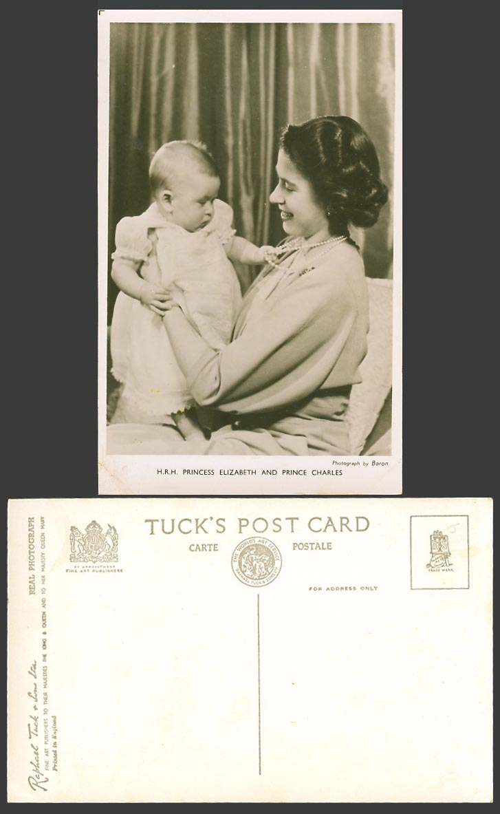 H.R.H Princess Elizabeth and Prince Charles Baby Royalty Old Real Photo Postcard