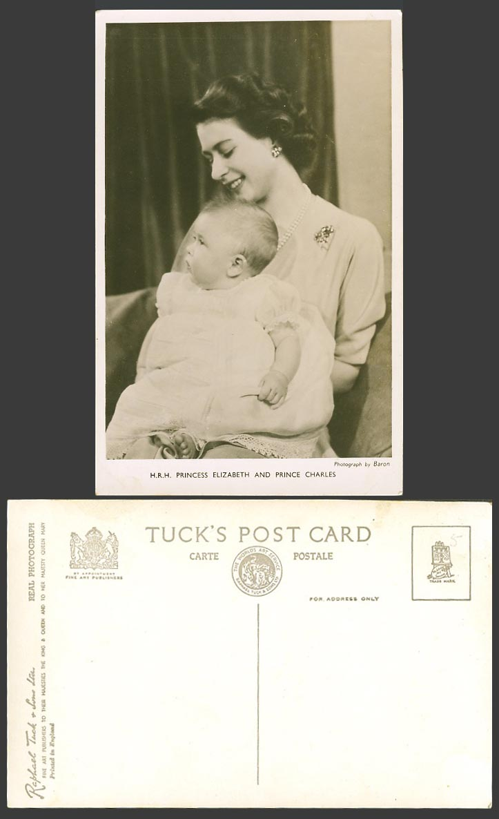 H.R.H. Princess Elizabeth & Prince Charles Baby, Royalty Old Real Photo Postcard