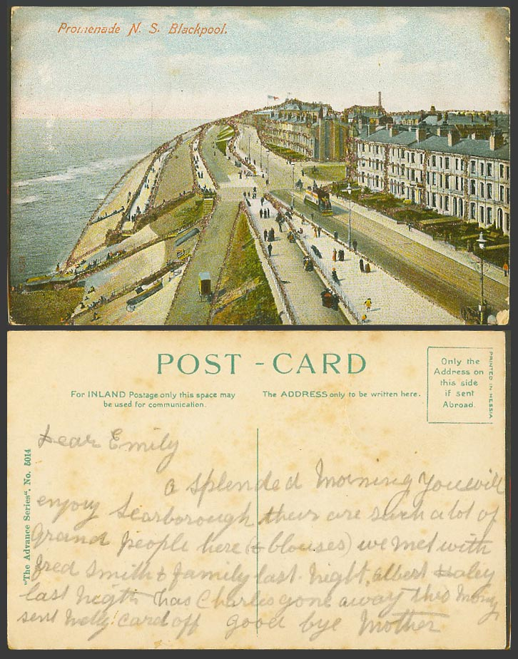 Blackpool Old Colour Postcard N.S. Promenade Street Scene, Novelty with Glitters