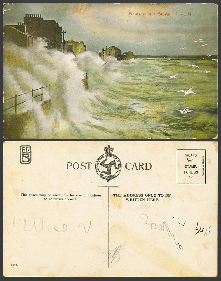 Isle of Man Old Colour Postcard Ramsey in a Storm Rough Sea Waves Seagulls Birds