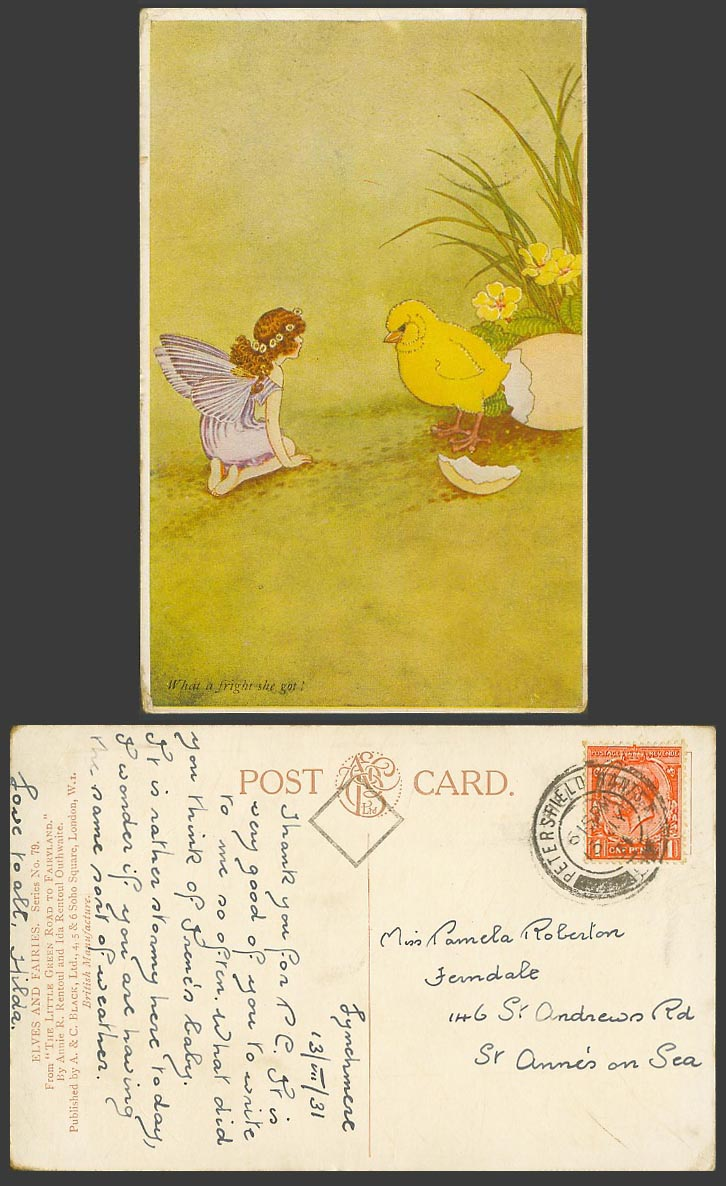 IR & G OUTHWAITE 1931 Old Postcard Chick Bird & Egg Fairy What a Fright She Got!