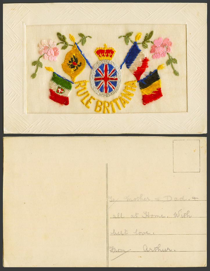 WW1 SILK Embroidered Old Postcard Rule Britannia Flowers French Belgian Flag etc