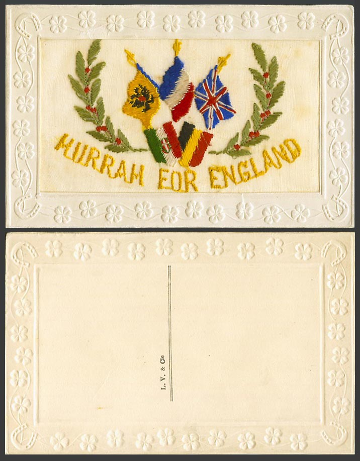 WW1 SILK Embroidered Old Postcard Hurrah for England, British & French Flags etc