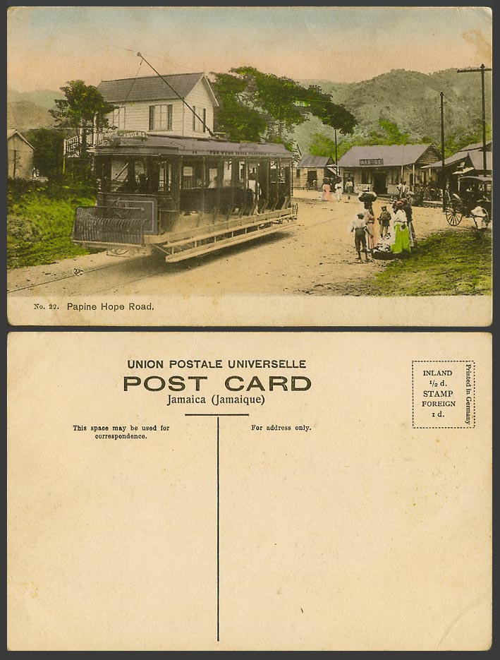 Jamaica Old Hand Tinted Postcard Papine Hope Road Street Scene, TRAM Tramway BWI