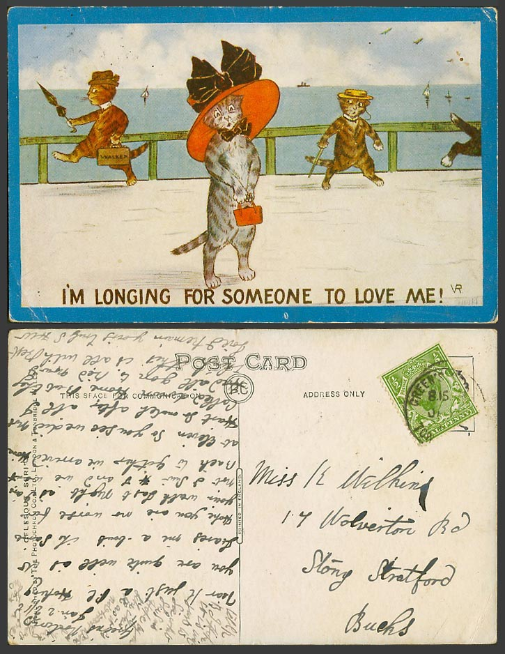 Violet Roberts Artist Signed Cats Old Postcard Am Longing For Someone to Love Me