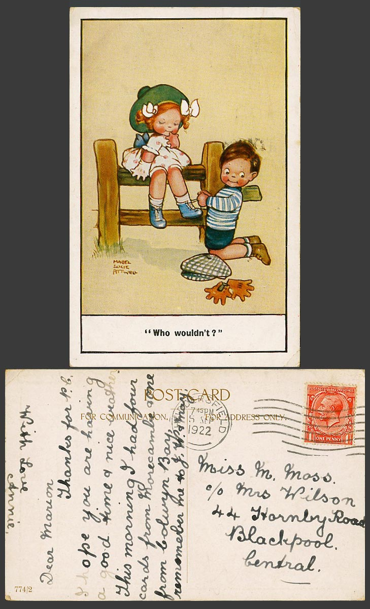 MABEL LUCIE ATTWELL 1922 Old Postcard Who Wouldn't? Boy tie Shoelaces Girl 774/2