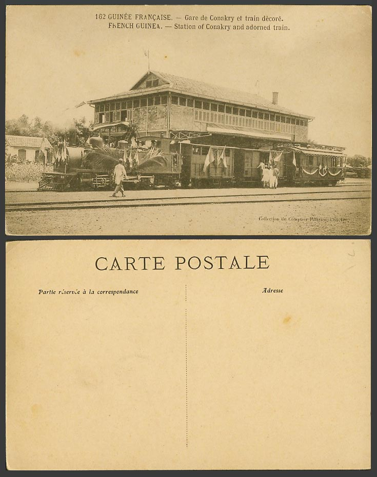 French Guinea Old Postcard Gare de Conakry Railway Station Deco Locomotive Train