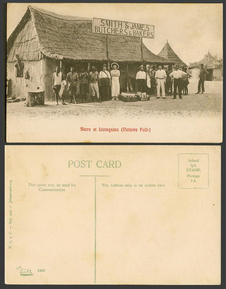 Rhodesia Old Postcard Victoria Falls Livingston Smith James Butcher Bakers Store