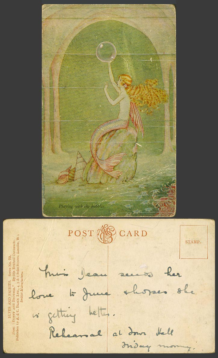 Ida Rentoul Outhwaite Old Postcard Fairy Mermaid Playing with The Bubbles - Fish