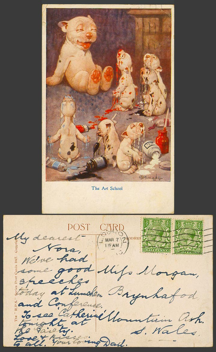 BONZO DOG GE Studdy Old Postcard The Art School. Red Black and White Paints 1047
