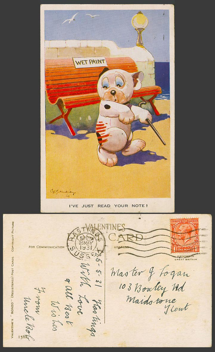 BONZO DOG GE Studdy 1931 Old Postcard Wet Paint - I've Just Read Your Note! 1562