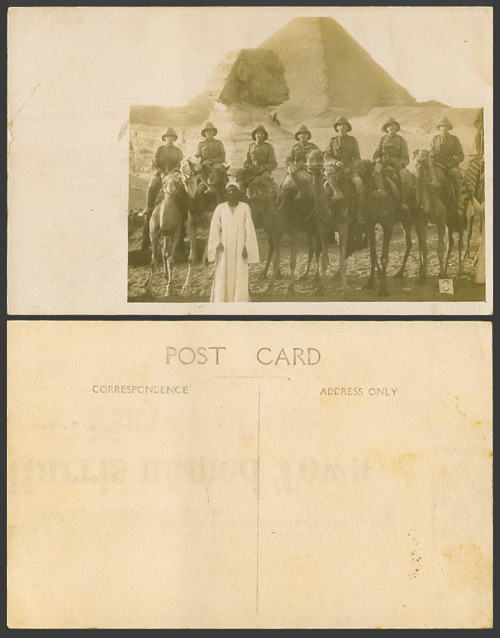 Egypt Old Real Photo Postcard Sphinx Pyramid Soldiers Riding Camels Native Guide