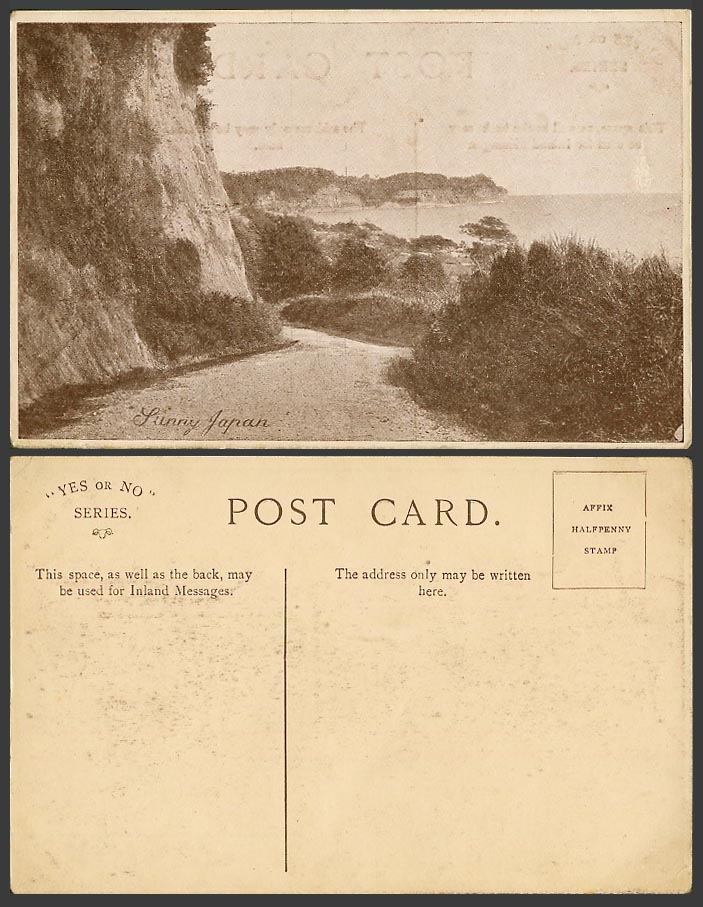 Japanese Old Postcard Sunny Japan, Coastal Street Scene Seaside Panorama Cliffs