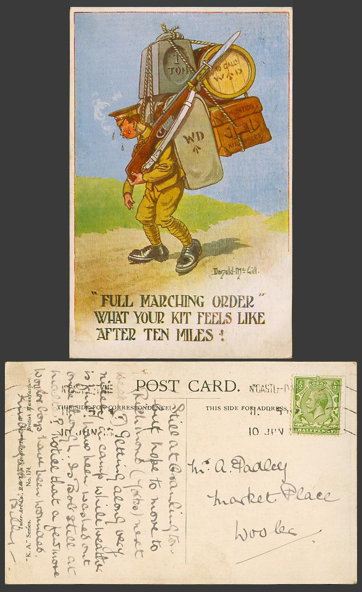 Donald McGill 1915 Old Postcard Soldier, Full Marching Order, After 10 Miles 174
