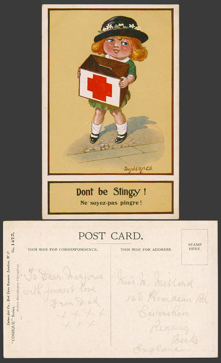 Donald McGill Old Postcard Girl with Red Cross Donation Box Don't Be Stingy 1475