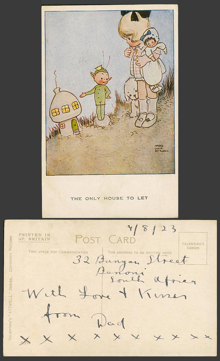 MABEL LUCIE ATTWELL 1923 Old Postcard The Only House to Let, Elf Fairy Doll A394