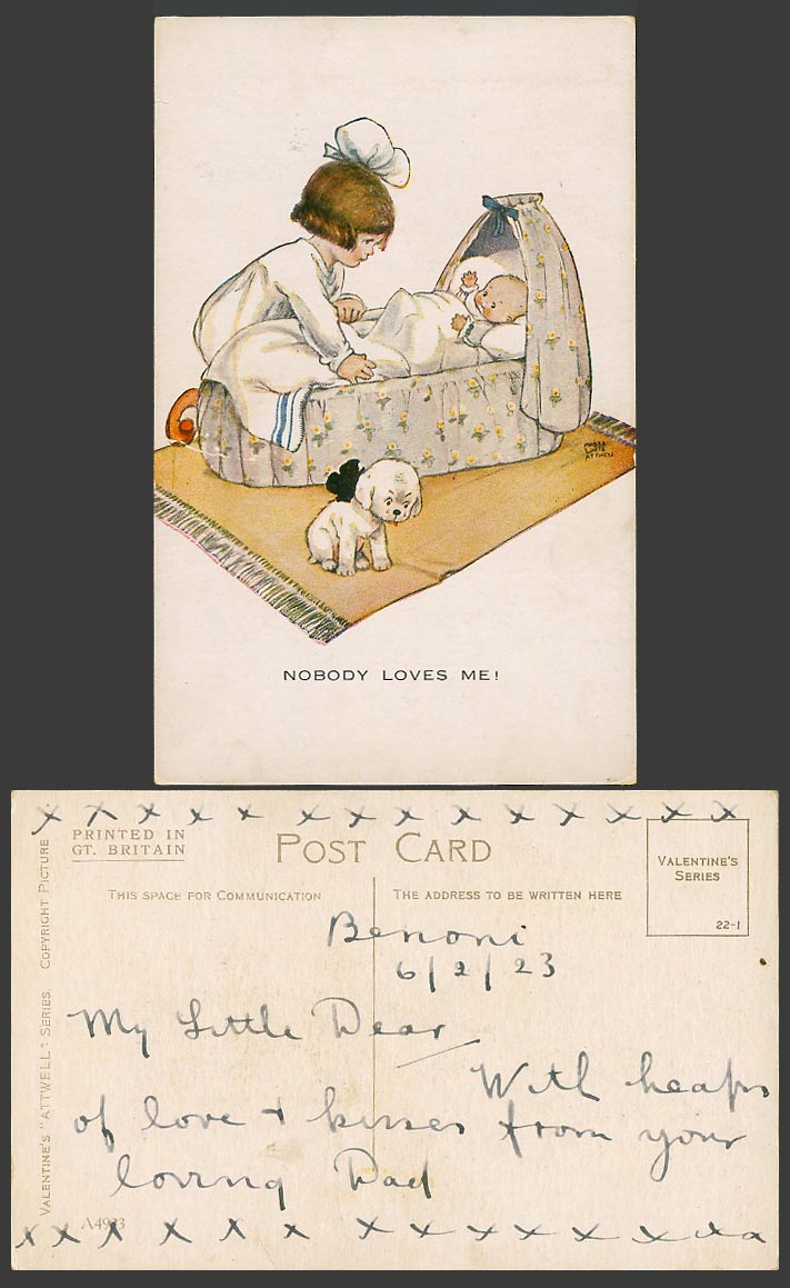 MABEL LUCIE ATTWELL 1923 Old Postcard Nobody Loves Me! Baby Crib Dog Puppy A4933