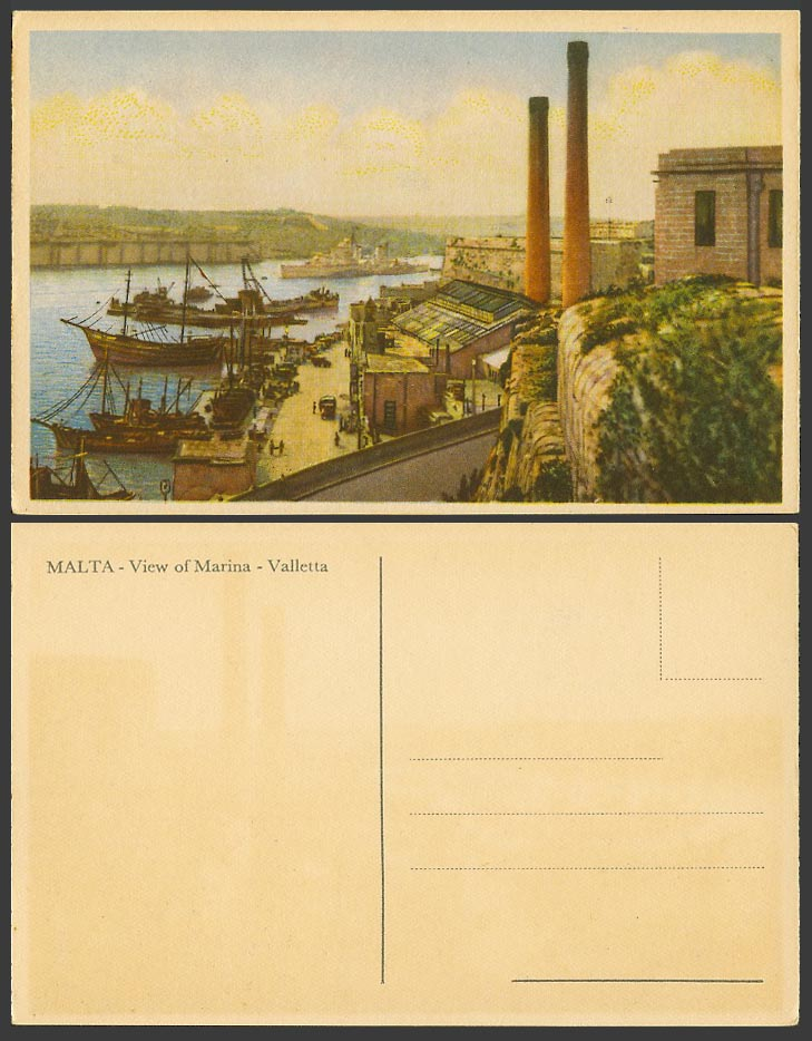 Malta Old Colour Postcard View of Marina, Valletta, Harbour Boats Ships Chimneys