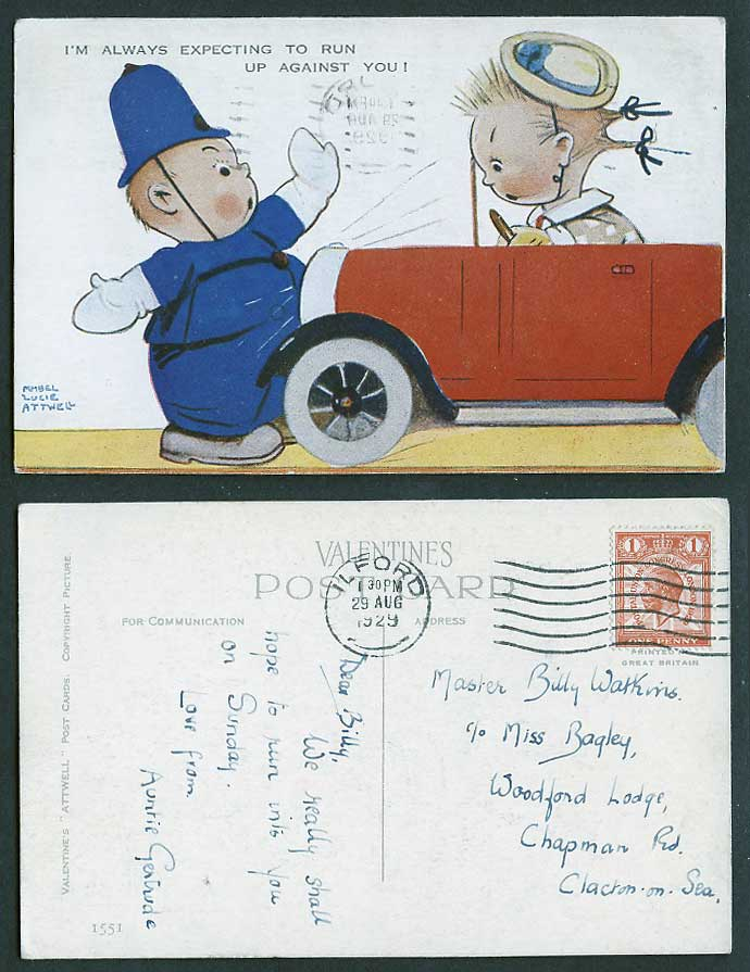MABEL LUCIE ATTWELL 1929 Old Postcard Police Stop Motor Car Run Against You 1551