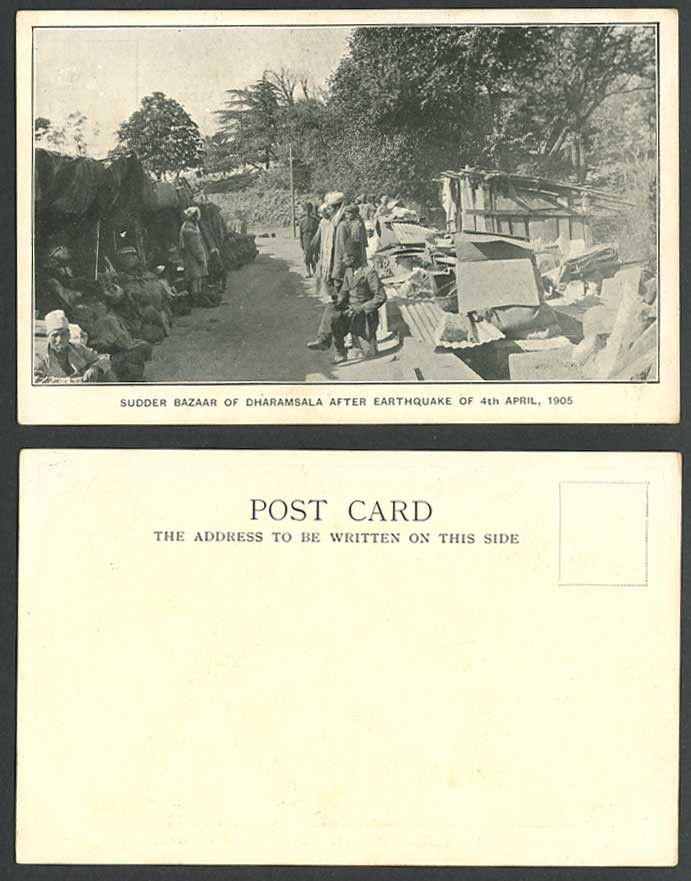 India Sudder Bazaar Dharamsala After Earthquake 4th April 1905 Old U.B. Postcard