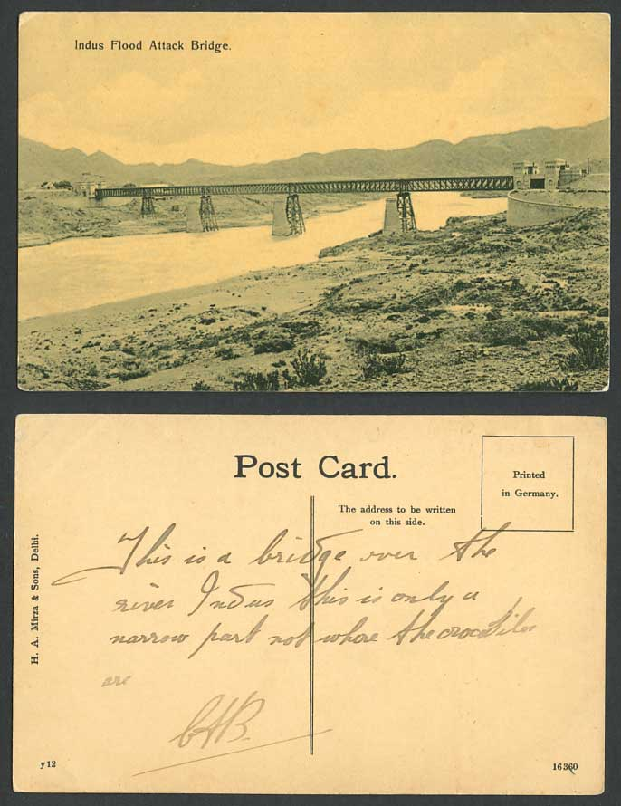 Pakistan Old Postcard INDUS FLOOD, Attock Attack Bridge Truss Bridge River Scene