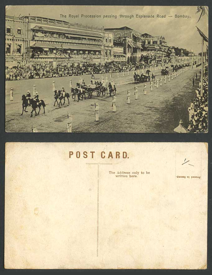 India Old Postcard The Royal Procession Passing Through Esplanade Road Bombay
