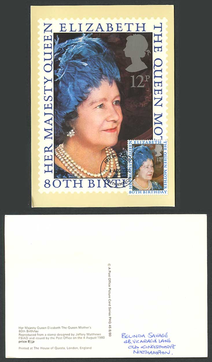 PHQ Card The Queen Mother Her Majesty Queen Elizabeth 80th Birthday 12p Postcard
