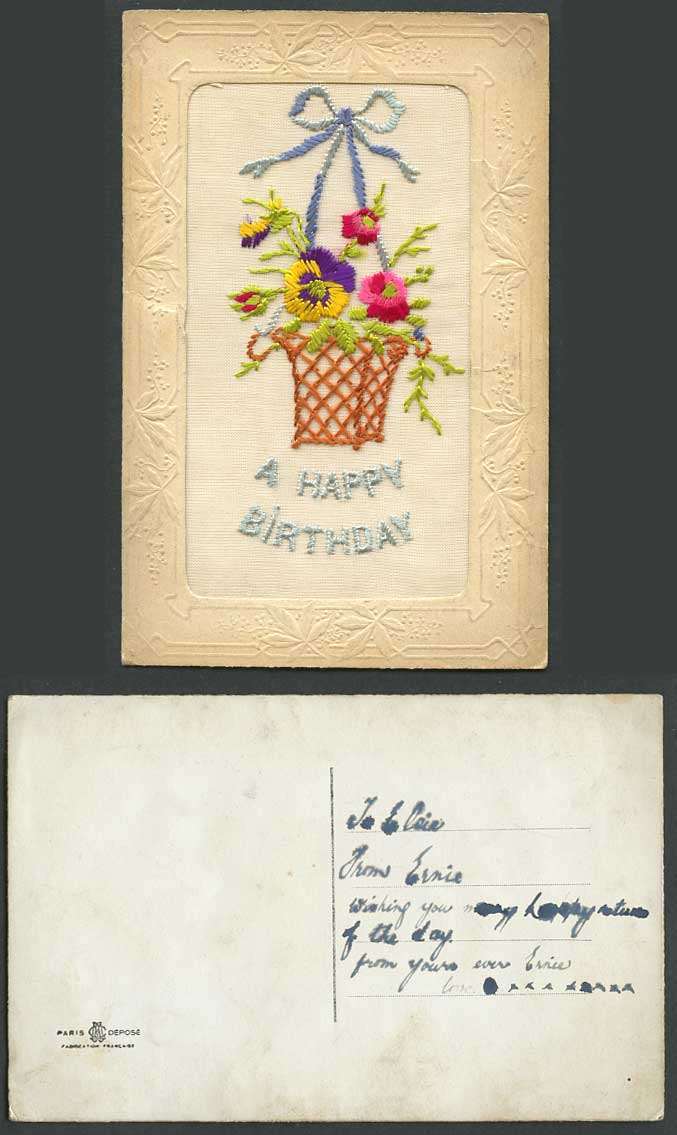 WW1 SILK Embroidered Old Postcard A Happy Birthday, Pansy Flowers Basket Novelty