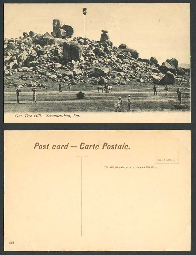 India Old Postcard One Tree Hill on Rocks Secunderabad Dn. Native Men Women Rock