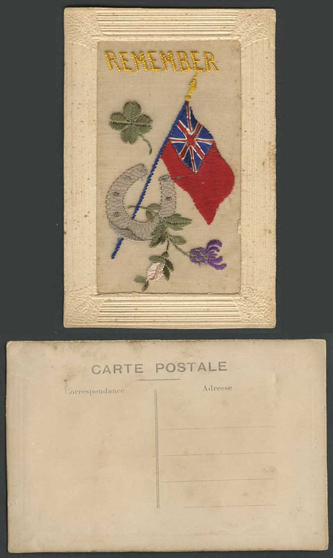 WW1 SILK Embroidered Old Postcard Remember, Horseshoe Flag 4-Leaf Clover Flowers