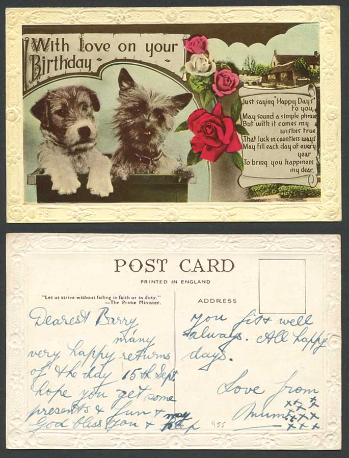 Fox Terrier Yorkshire Terrier Dogs Puppies With Love On Ur Birthday Old Postcard