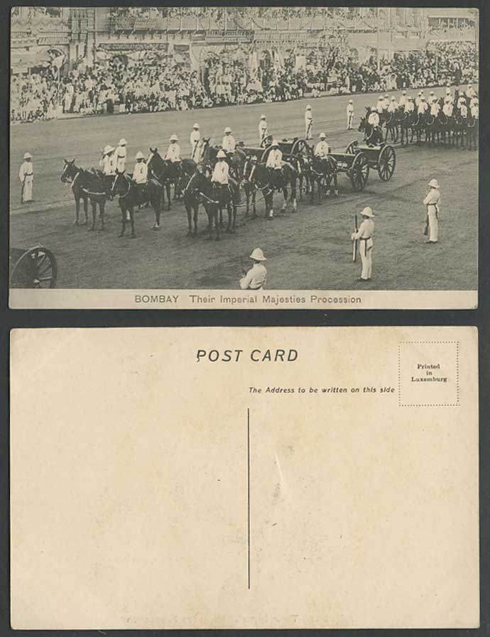 India Old Postcard Bombay Their Imperial Majesties Street Procession Horse Guard