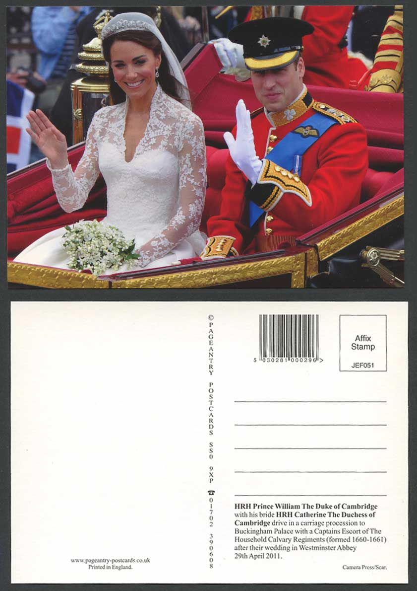 Prince William Duke Cambridge with Bride Kate Catherine Duchess Wedding Postcard