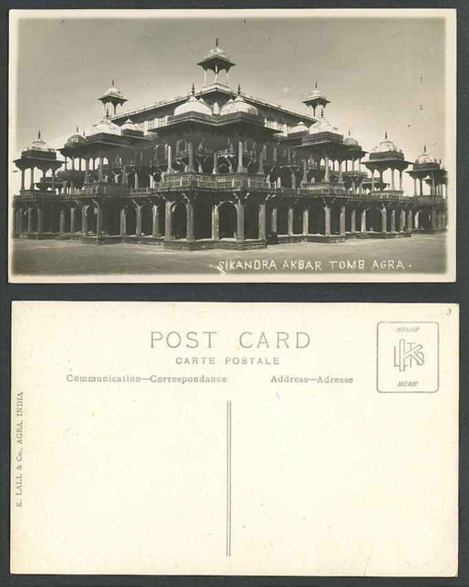India Old Real Photo Postcard Sikandra Akbar Tomb Agra Mausoleum Sikundra K Lall