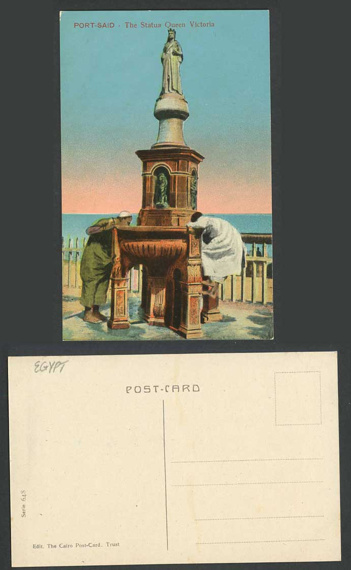 Egypt Old Postcard Port Said Statue Queen Victoria Men & Boy Drink from Fountain