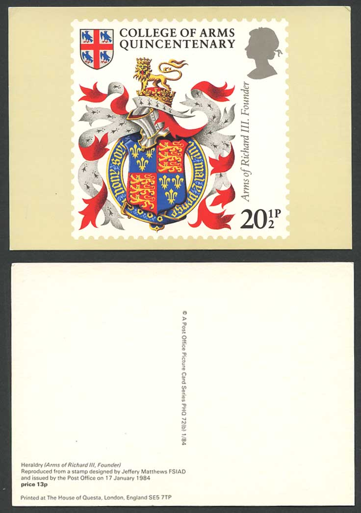 PHQ Card Heraldry College of Arms Quincentenary Richard III Founder QE2 Postcard