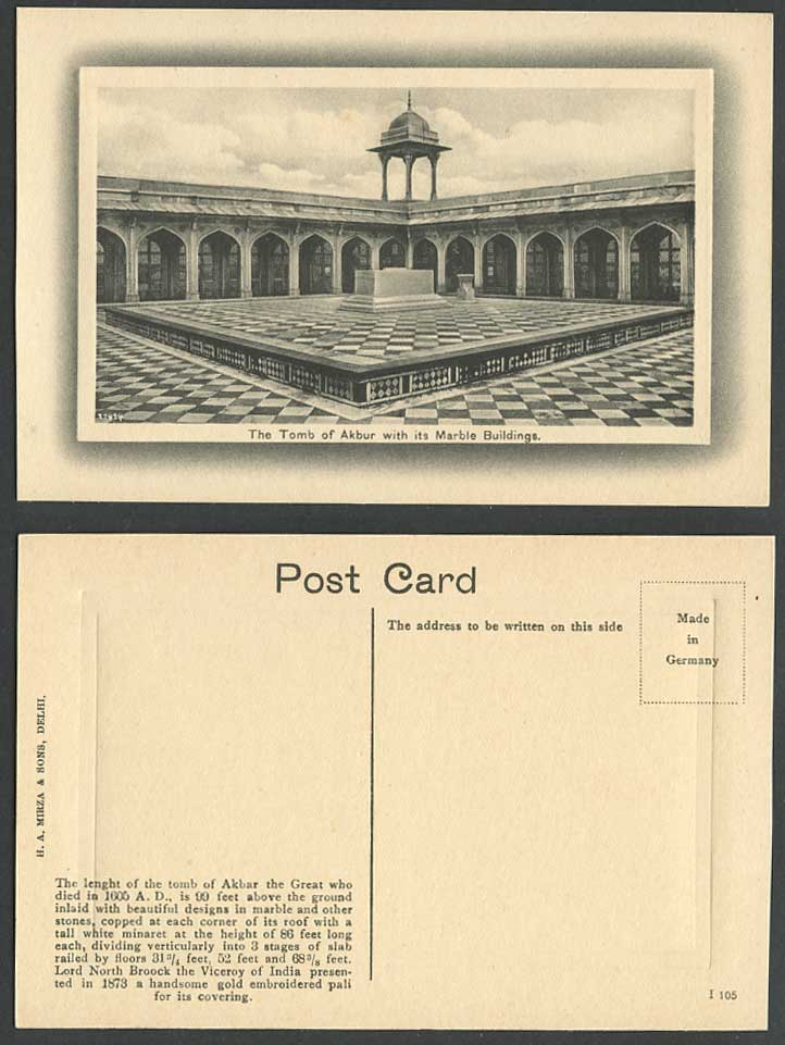 India Old Embossed Postcard Tomb of Akbar The Great with its Marble Buildings