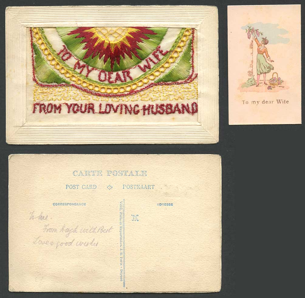 WW1 SILK Embroidered Old Postcard To My Dear Wife, From Your Loving Husband, Sun