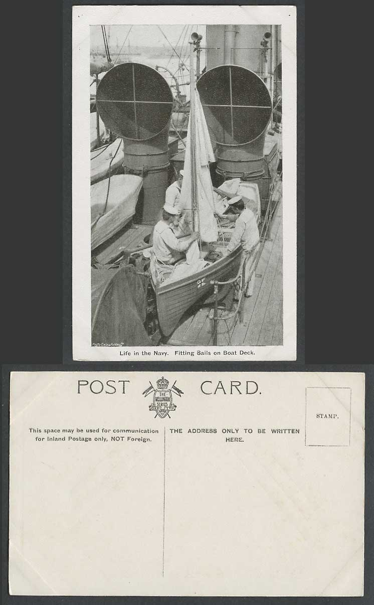 Life in the Navy, Fitting Sails on Boat Deck, Marine Seamen Warship Old Postcard
