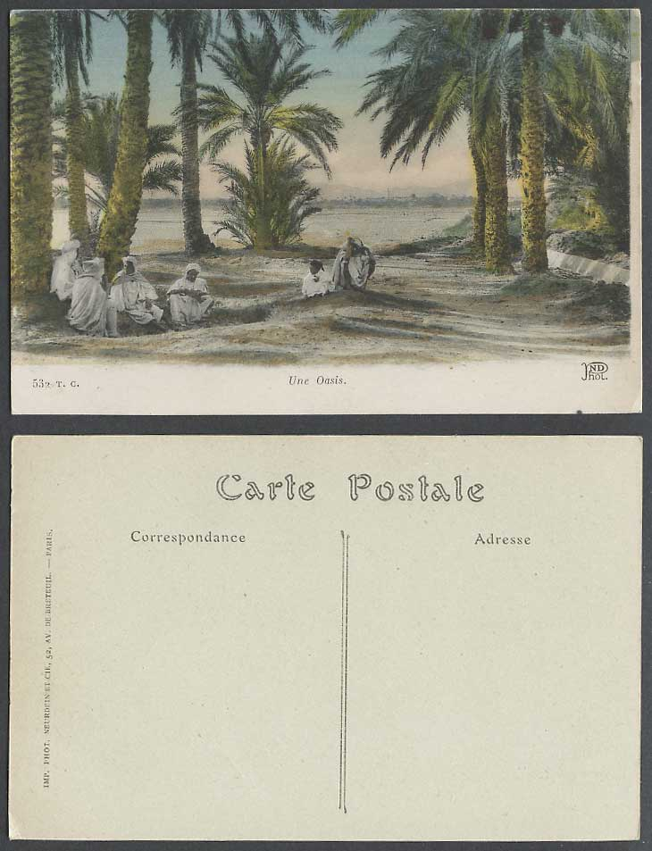 Algeria Old Hand Tinted Postcard Une Oasis, Palm Trees, Native Arab Men Resting
