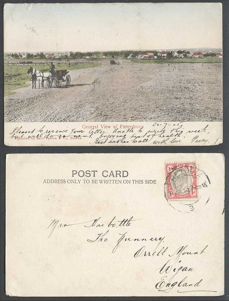 South Africa 1905 Old Hand Tinted Postcard Pietersburg General View, Horses Cart