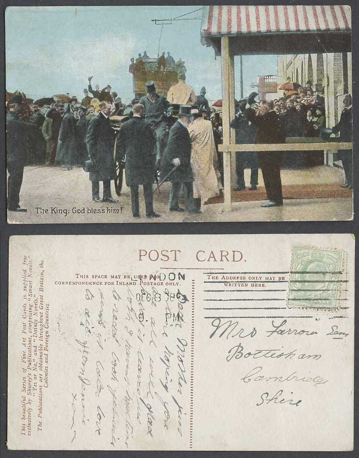 The King Edward 7th God Bless Him 1908 Old Colour Postcard British Royalty Crowd