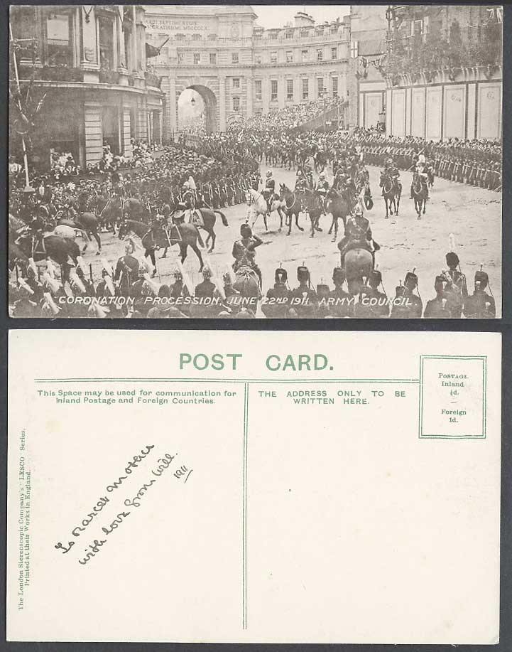 King George 5th Coronation Procession Army Council June 22nd 1911 Old Postcard